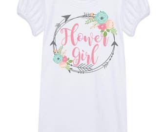 Free Shipping! Flower Girl Puff Sleeve Tshirt/ Wedding/ Little Girl Tee/ Flowers/ Arrows/Toddler Shirts