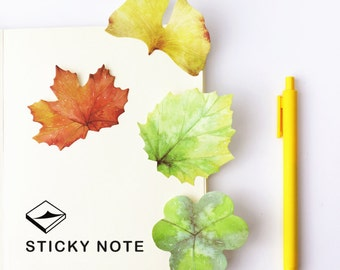 leaf Sticky Notes,  leaves, plant sticky notes, Watercolor, Post it, to do, Kawaii Notepad, cute memo pad, Stick Marker, Stationery, planner