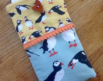 Puffin phone cover,  puffin glasses case, fabric phone cover, iphone cover, iphone 6s, Mobile phone cover, puffin fabric, bird phone cover
