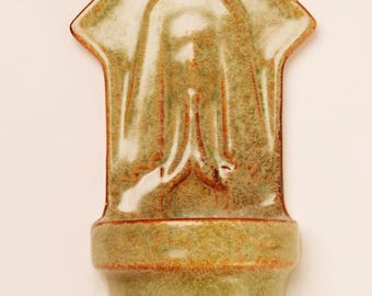 Green Ceramic 60's Holy Water Font