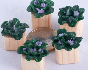 FLOWERS POTS Wooden Dollhouse Furniture Polymer Clay Flowers Role Playing Games 1 6 Scale