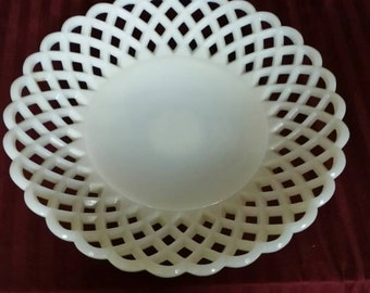 Vintage Satin Lace Milk Glass Serving Bowl