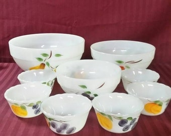 "Fire-King bowls. Total of 9 pieces.  Mixing and dessert. ""Gay Fad"" pattern.  Fruits"