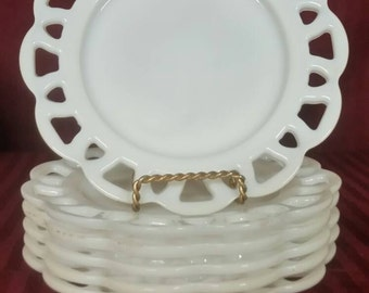 "Milk glass dessert 8 1/2"" plates set of 6"