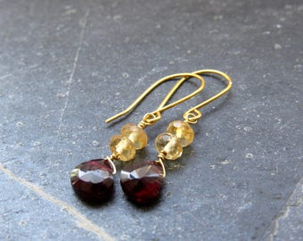Garnet Earrings Citrine Earrings Gemstone earrings January November birthstone  Yellow Red Earrings gift women gift for mom summer gift
