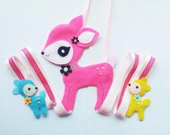 Pink Bambi Hair Clip Holder , hair clip organizer