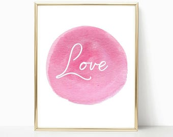 For her, bedroom decor, wall art, home decor, love print, girlfriend wall art, bathroom decor, bedroom art, gift for home, pink print
