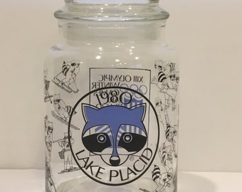 Vintage lake placid jar, Olympic Winter Games 1980 jar, collector, glass jar, retro, sports, decor, storage, container, collector glass
