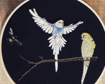 Budgies, love birds embroidery, wall hanging