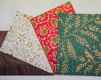 Christmas Collection : Elephant Dung Cards w/ Handprinted Envelopes (Set of 4)