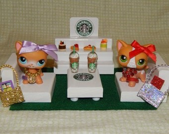 22 Pc LPS Custom Starbucks Miniature Cafe Coffee Sweets Purses Phones Organza Bag Xmas Gift Party Favor Littlest Pet Shop Accessories