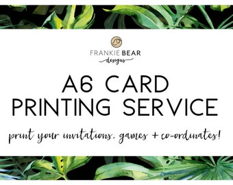 A6 (105x148mm) PROFESSIONAL PRINTING for any Frankie Bear Designs invitation or any A6 co-ordinates, A6 card print, printing, Australia