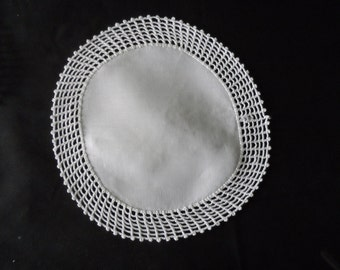 FREE SHIPPING USA Vintage Round White Cotton Doily with Hand Crocheted Edging  962