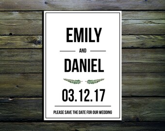 Simple Block Letterpress Style Font Wedding Save The Date Cards Invitation A6 With Envelope