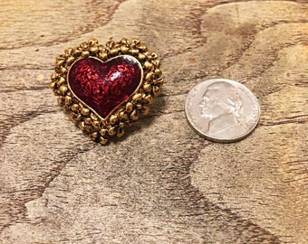Vintage 1980's Gold Plated, Red Heart Shaped Pin, Brooch, Floral Framed / Valentine's Day Jewelry / Valentine's Day 2017