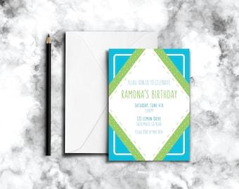 Birthday Invitation - Blue and Green Diamond Border