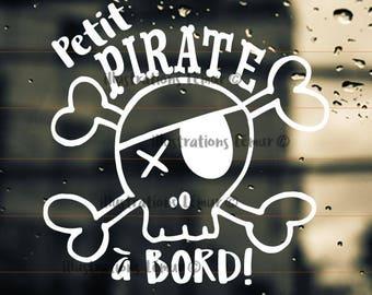 PIRATE baby on board, sticker skull-lettering-windshield-custom colors-gift shower-Stinking beast-skull-pirate