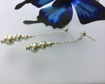 Sterling silver dangle earrings/silver dangles/drop/dangle/earrings/Sterling Silver/Circles/silver balls/chain earrings