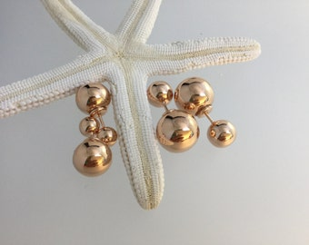 Double ball stud earrings /rose gold studs/rose gold/dior style/wedding earrings / studs/earrings /gold/Sterling silver