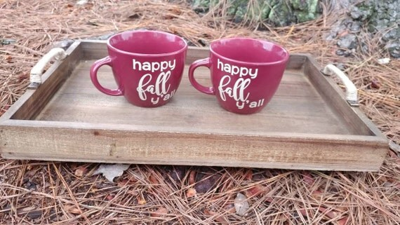 Decorative fall rustic wooden tray and mug set - its fall y'all vinyl decal
