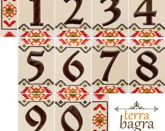"""Handmade Ceramic House Number tiles """"Prosperity"""""""