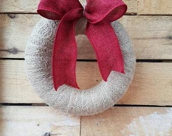 Christmas Wreath - Jute Wreath - Rustic Wreath - Burlap Wreath