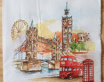 Set of 4 London Scene Square Paper Lunch Napkins Decoupage Crafts Collage Scrapbooking #097