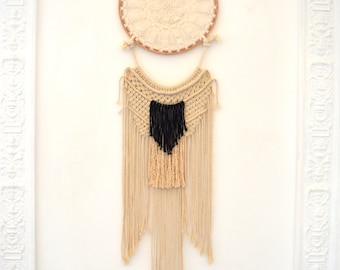 Bohemian chic beige and gray dream catcher