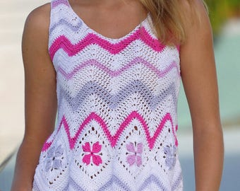 Ladies summer multicolored tunic crochet / custom