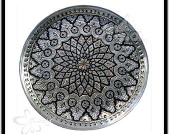 Engraved Decorative Copper plate - Persian metalwork