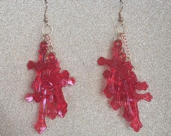 Red Crucifix Earrings