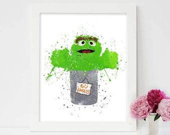 Sesame Street, Oscar the Grouch, Oscar the Grouch Poster, Sesame Street print, Grouches, sesame street, Oscar, Mr Grouch, Mr Oscar, Oskie