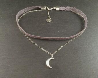 Kette Choker Grau Silber Mond