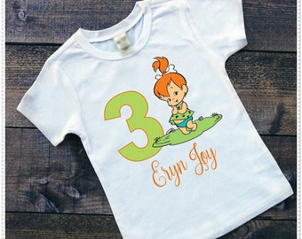 Pebbles Flintstone Tee Shirt or Bodysuit ;6-24 Month or Tee from 2T and Up;FREE Personalization:Any Age