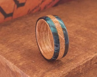 Blue Wooden Ring - Whiskey Barrel Ring - Men's Wooden Rings - Wooden Wedding Ring -  Wooden Promise Ring  - Woman's  wood rings