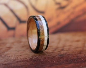 Elk Antler Wood Ring - Antler Wedding Band  Whiskey Barrel Wood Ring Wooden Ring Men Engagement Ring Woman Anniversary Reclaimed Wood