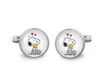 Snoopy Cuff Links Peanuts Cuff Links 16mm Cufflinks Gift for Men Groomsmen Novelty Cuff links Fandom Jewelry