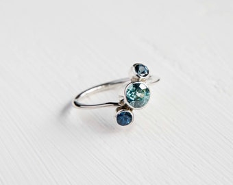 Blue Topaz and Sapphire Promise Ring - Engagement ring - Anniversary ring - blue sapphire - blue