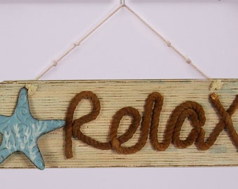 ESE Wooden Beach/Relax Nautical Hanging Sign with Rope ( Relax)