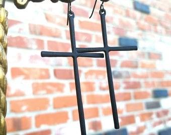 Matte Black Cross charm earrings with Niobium Hooks - like a Virgin