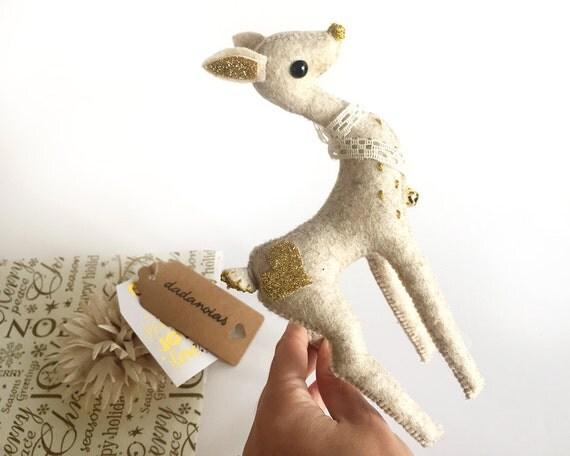 Fawn Ende Gold   Fawn   Deer   Gold Deer   Deer Gift   Handmade Deer   Soft Sculpture   Christmas Deer   Forest Baby Deer   Deer Decor