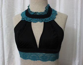 Teal Lace Halter Bralette Top