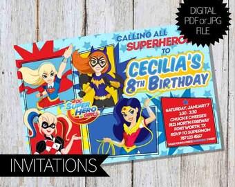 Super Hero Girls Birthday Party PRINTABLE Invitations | DC Comics | SuperGirls | Digital Invitation
