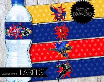 SuperHero Justice League Birthday PartyPRINTABLE Water Bottle LABELS- Instant Download | DC Super Hero| Justice League Unlimited