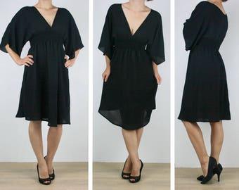 Ladies short black dress, beach dress, knee length Australian Made womens kaftan boho gypsy 6 8 10 12 14 16