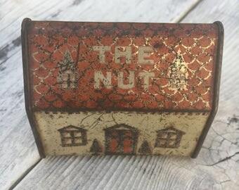 Vintage Nut House Peanut Tin, Vintage Tin,