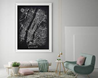 MANHATTAN New York City Chalkboard Map Art Black and White Manhattan NY Vintage City Map Graphic Detailed Scheme Street Map Wall Art Decor