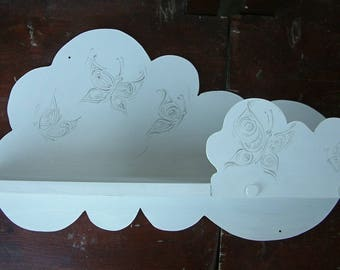 Shelf Decorative cloud shelf White wall shelf Handmade home decor