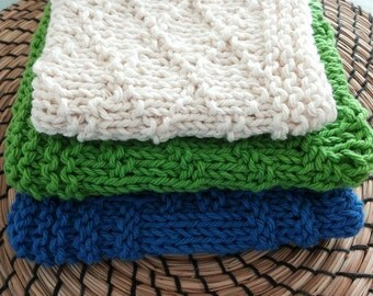 Knitted dishcloths set - dishcloth - kitchen wear - kitchen towels - tea towels - Hostess gift