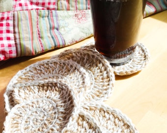 Pure organic baby cotton crocheted shell coasters in a set of six